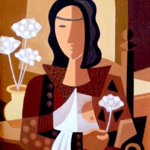Portrait aux fleurs